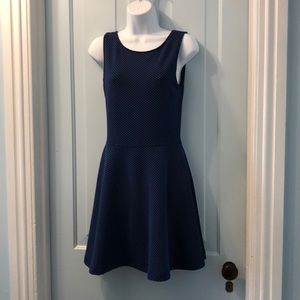 Frenchi skater dress blue black textured poly sz M